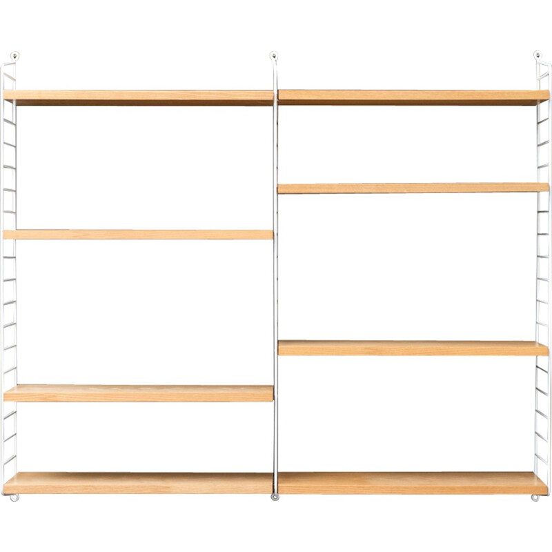 Shelves with ropes and ash wood by Nisse Strinning - 1950s