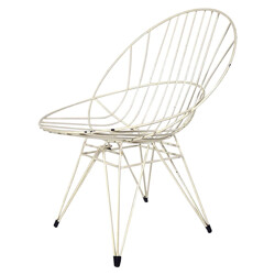 """Chair """"Combex"""" in steel and  white plastic, Cees BRAAKMAN - 1950s."""