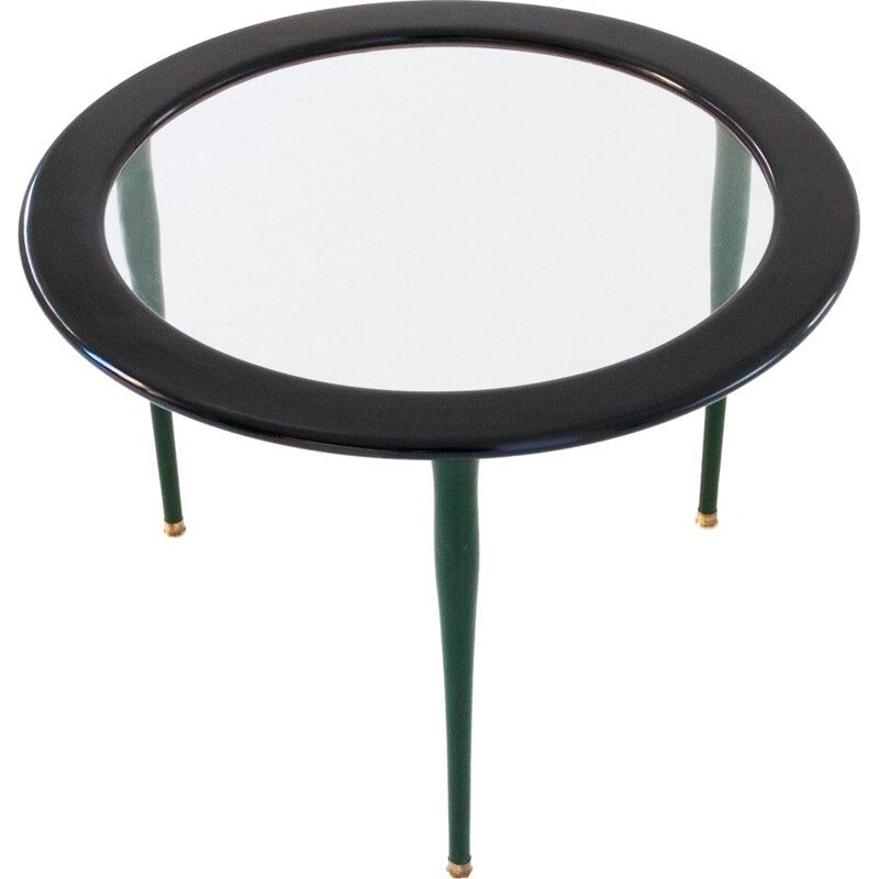 Green vintage coffee table in glass - 1950s