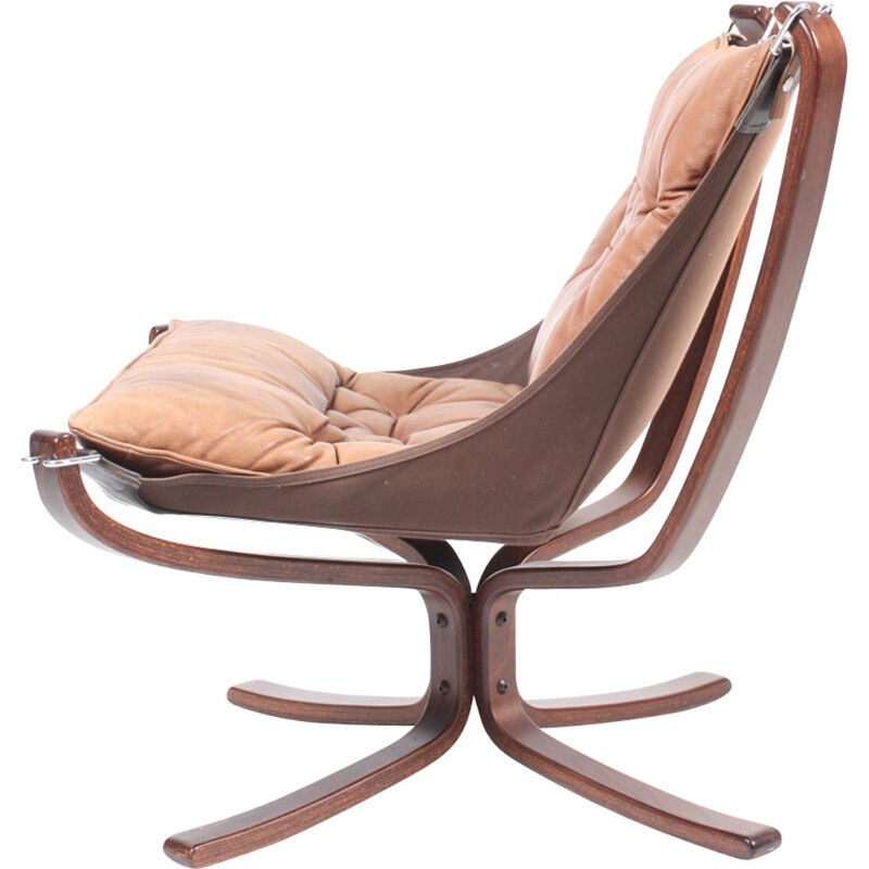 "Leather ""Falcon"" armchair by Sigurd Resell for Vatne - 1970s"