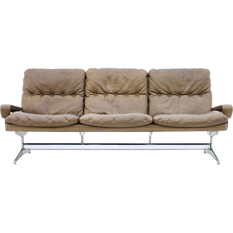 """Leather Sofa """"King"""" by André Vandenbeuck made by Strässle Switzerland - 1965"""