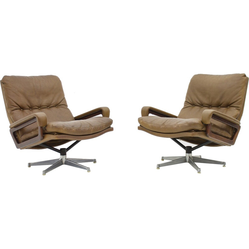 """Pair of Lounge Chairs """"King"""" by André Vandenbeuck for Strässle Switzerland - 1965"""