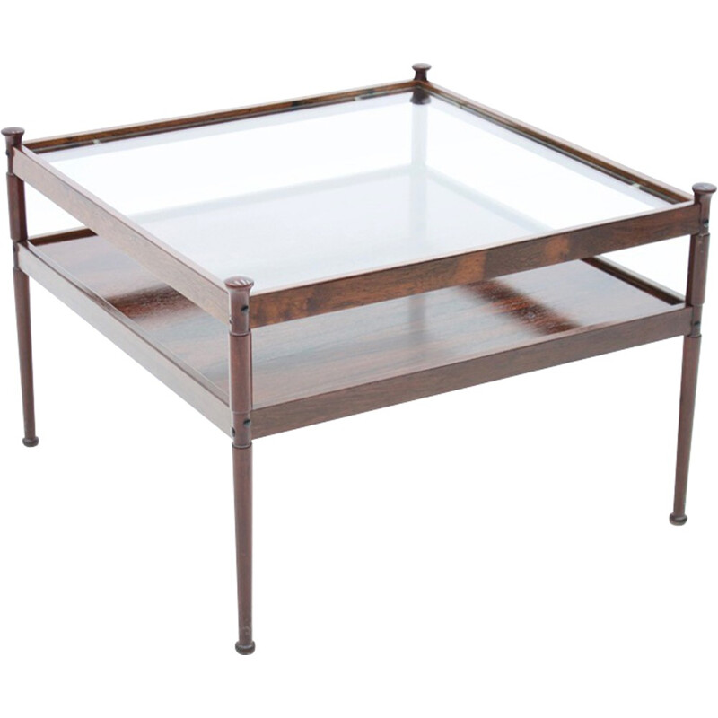 Scandinavian Glass and Wood Coffee Table - 1960s