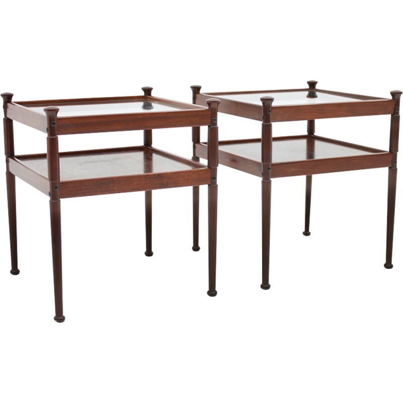 Pair of Scandinavian Wood and Glass Side Tables - 1960s
