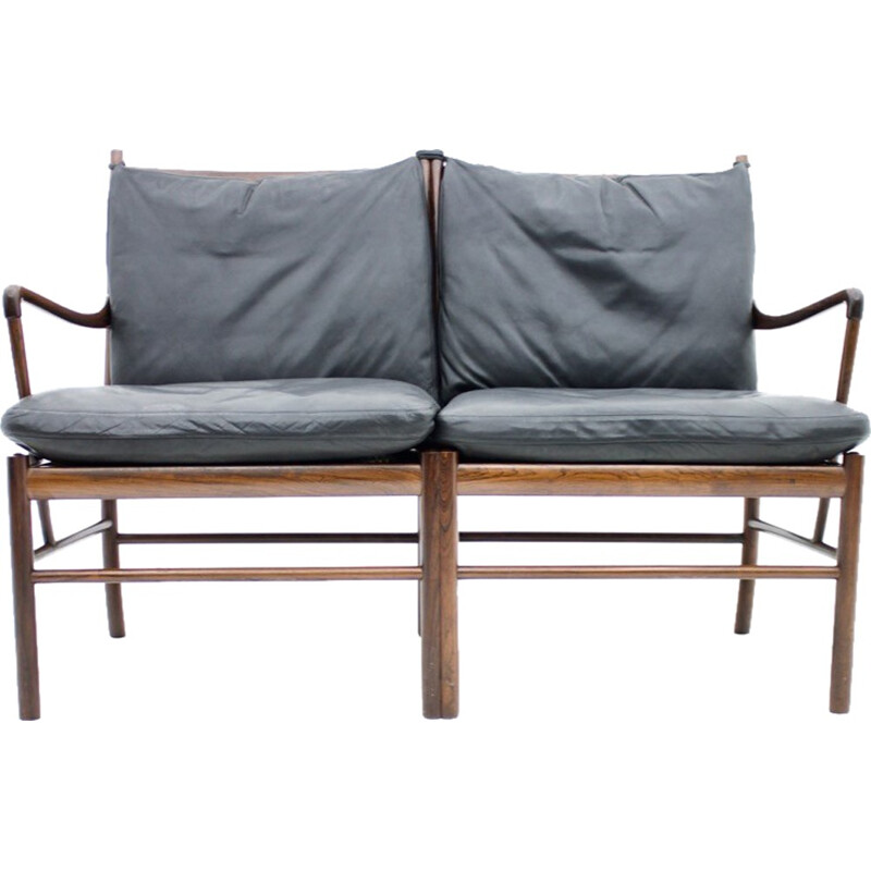 Black leather and rosewood PJ149 sofa by Ole Wanscher for Poul Jeppesen - 1960s