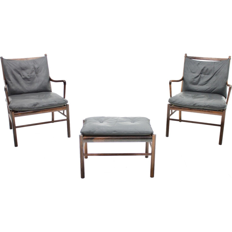 Pair of Colonial armchairs with Stool by Ole Wanscher for Poul Jeppesen. Denmark - 1960s