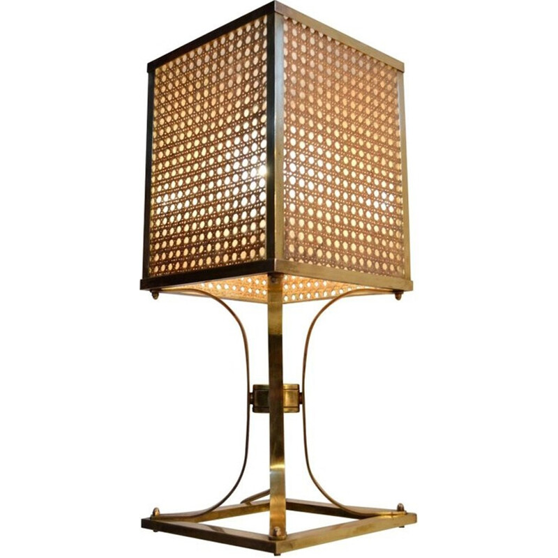 Brass lucite and rattan table lamp - 1970s