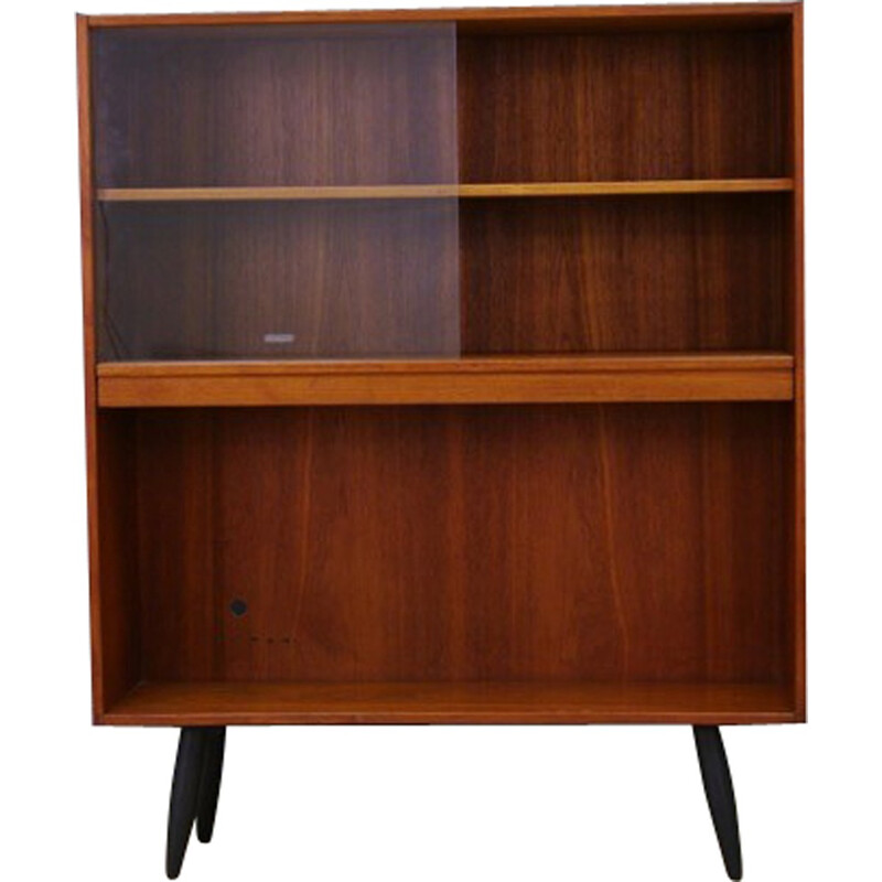Vintage bookcase in teak and glass - 1960s