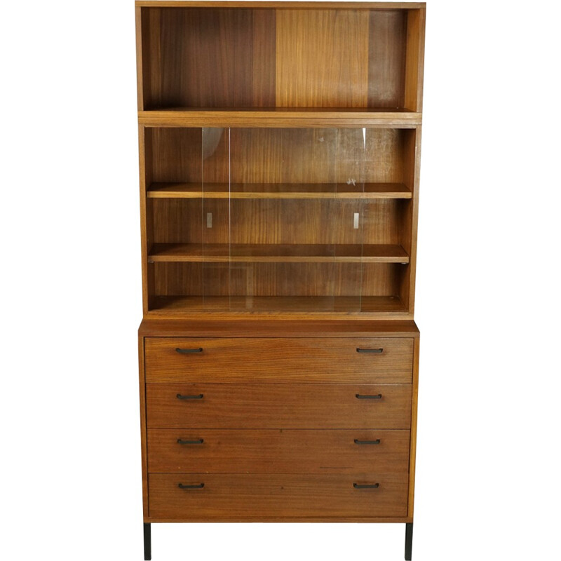 Teak chest of drawers with showcase - 1950s