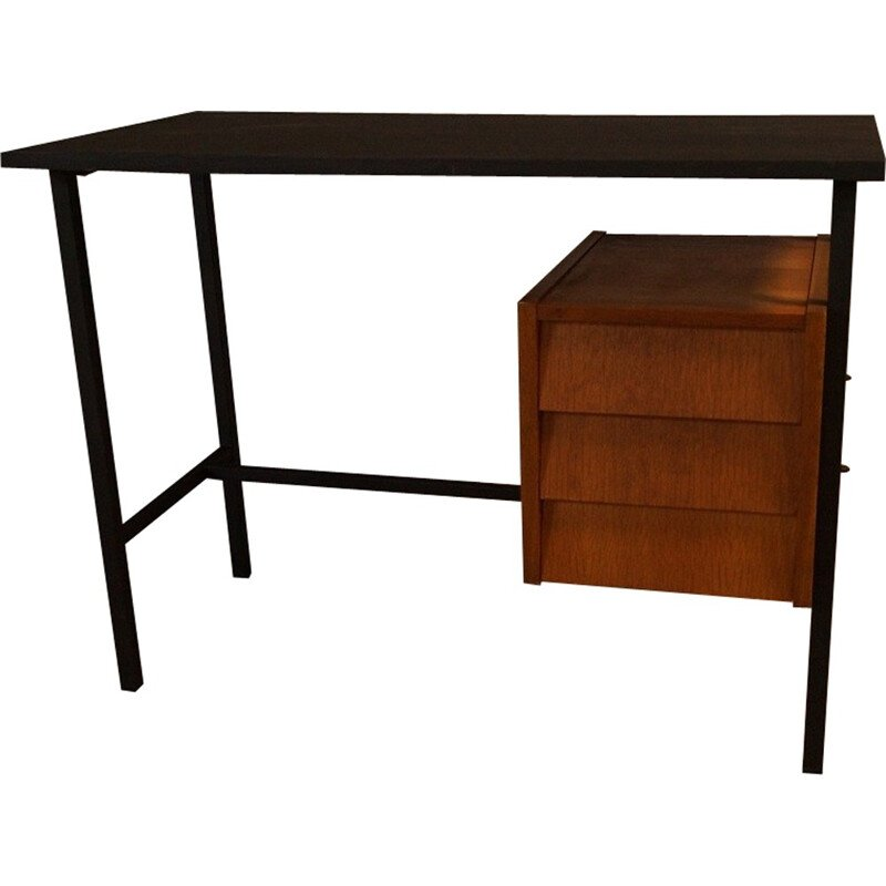 Vintage french lacquered steel and wooden desk - 1950s