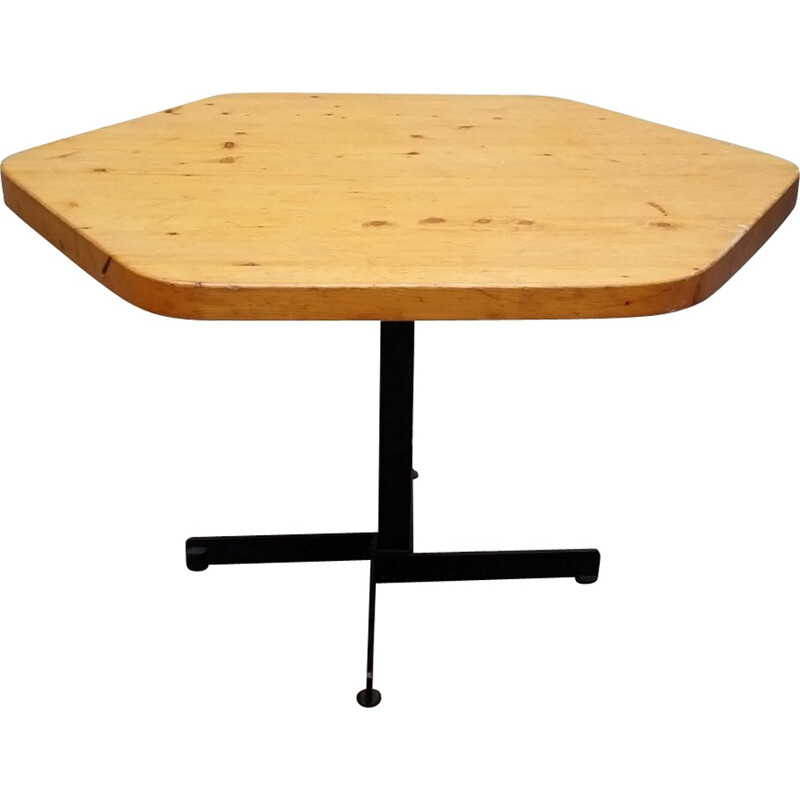 Hexagonal Vintage Table for les Arcs, Charlotte Perriand - 1960s