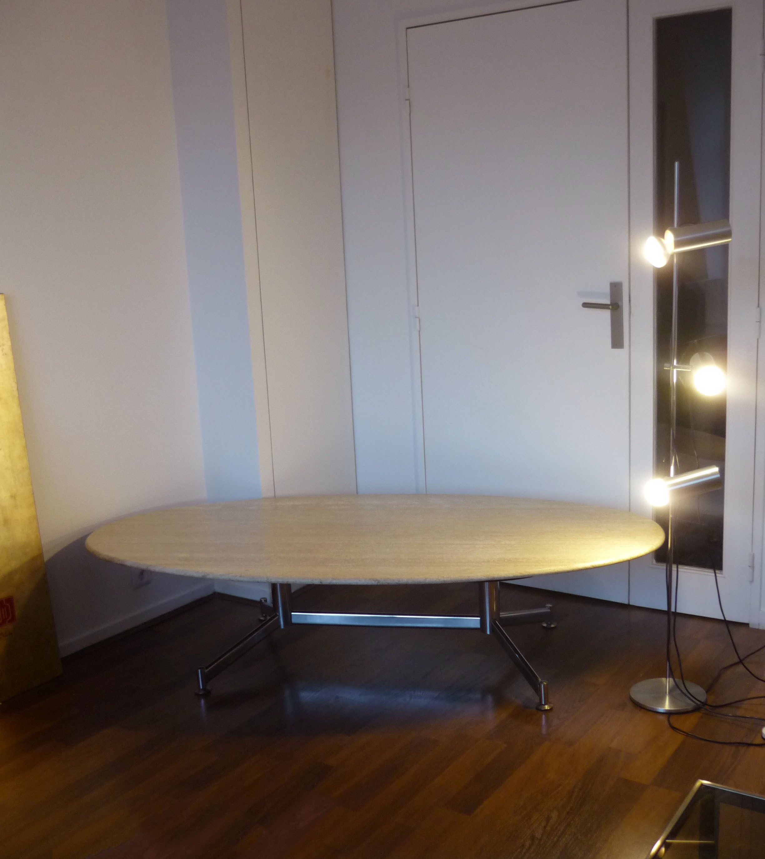 Vintage Travertine And Steel Marble Coffee Table 1960s