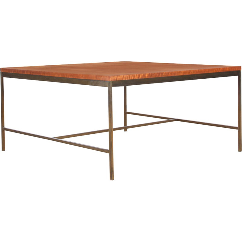 Square coffee table in teak and brass by Paul McCobb - 1950s