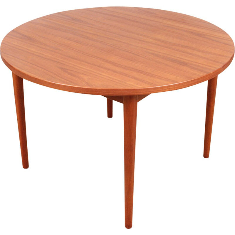 Scandinavian round teak dining table with 1 extension by Nils Jonsson for Troeds - 1960s
