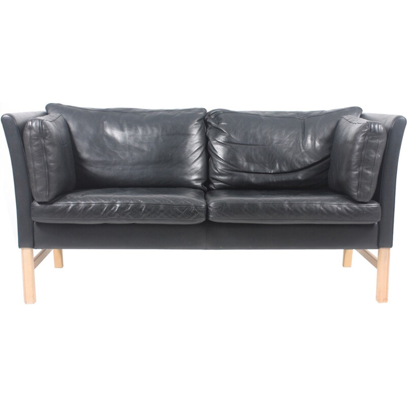 Danish Black Leather Sofa by Takashi Okamura & Erik Marquardsen for Skipper - 1980s