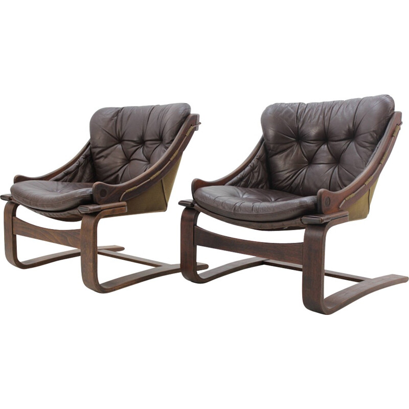 Vintage Scandinavian Bentwood Leather Lounge chair - 1960s