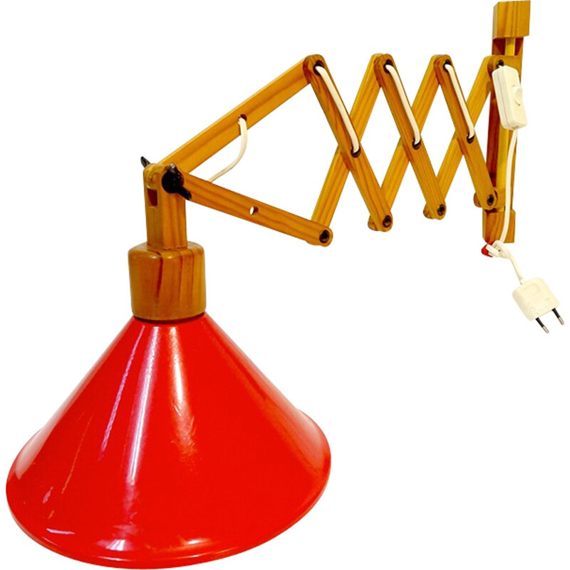 Extendable red gallows lamp - 1970s