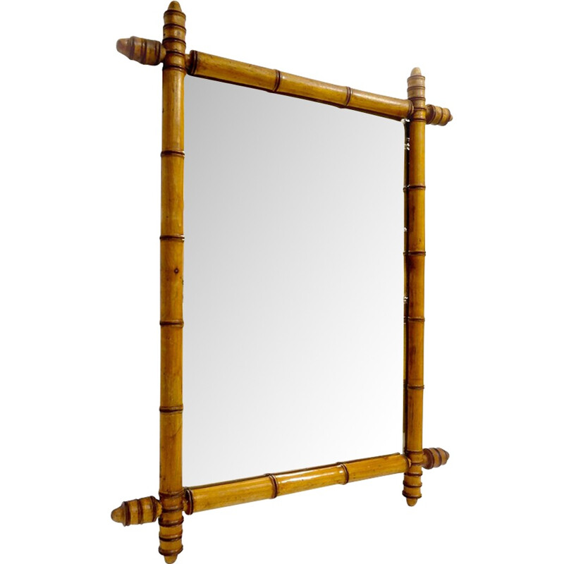 Large old mirror in turned wood called bamboo - 1940s