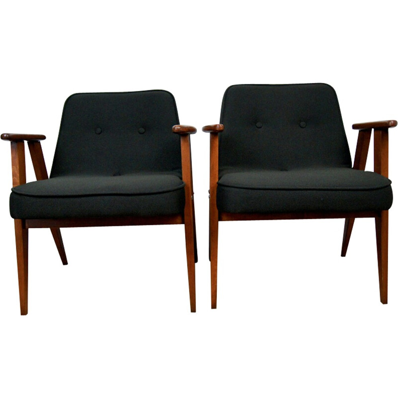 Pair of vintage black 366 armchairs by Jozef Marian Chierowski - 1960s