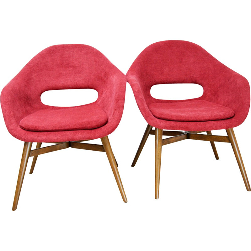 Pair of Red Shell armchairs by František Jirak - 1960s