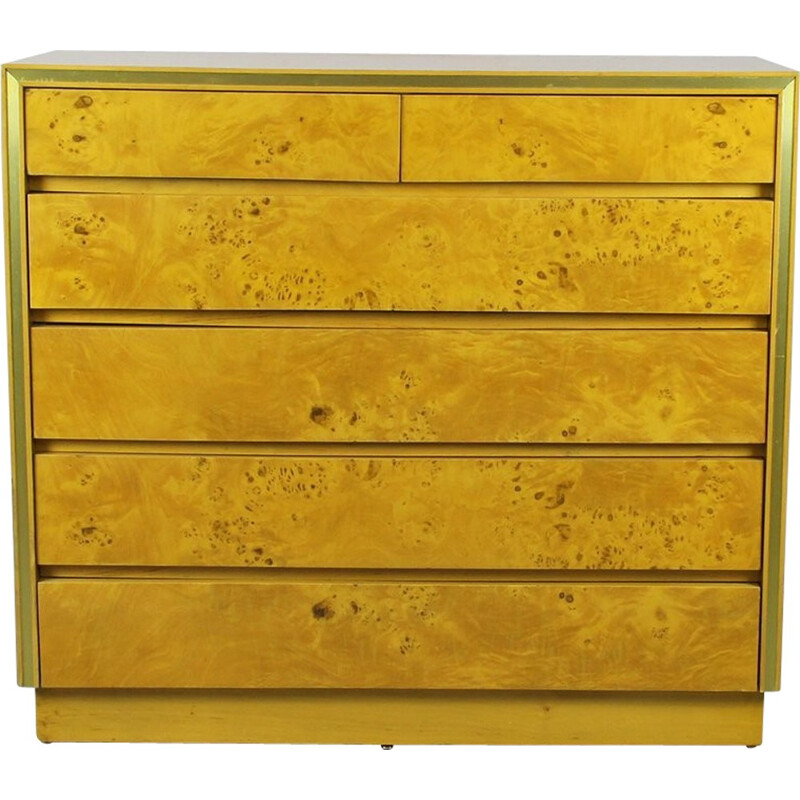 Italian chest of dawers in poplar and brass - 1970s