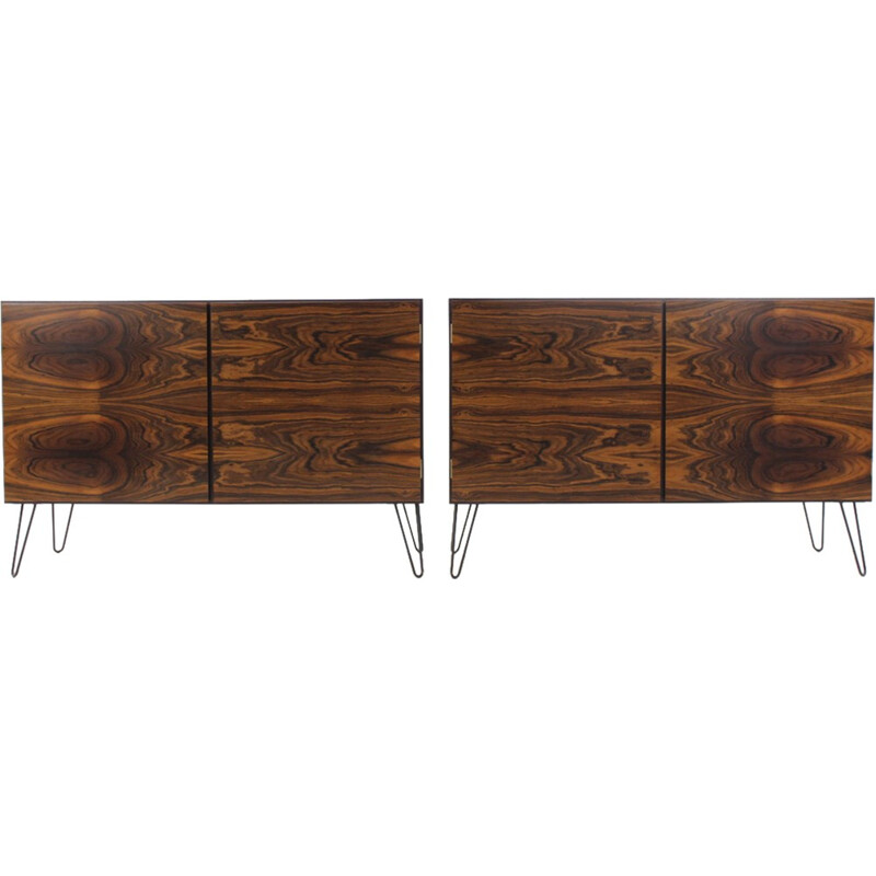 Set of two upcycled Palisander sideboards - 1960s