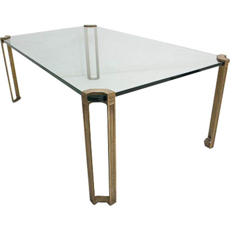 Mid-century Brass and glass coffee table by Peter Ghyczy - 1970s
