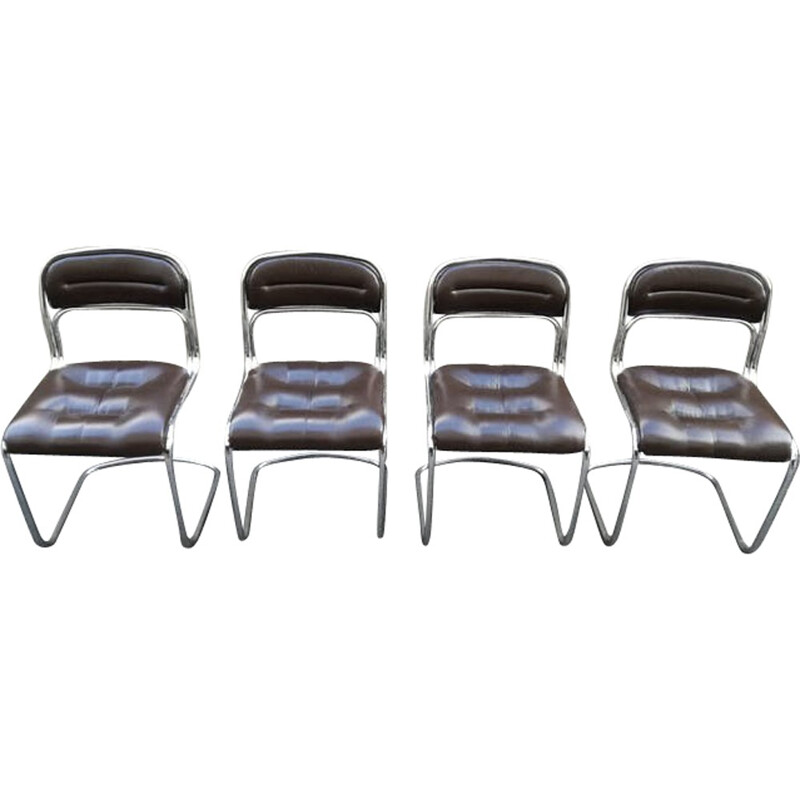 Set of 4 chairs in chrome metal and skai - 1970s