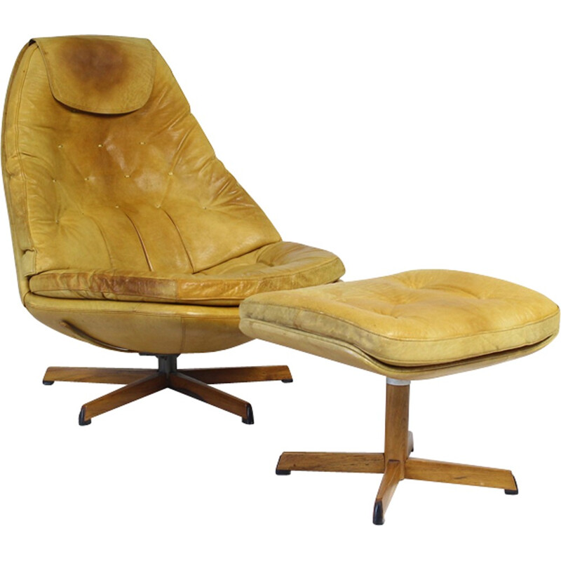 Vintage Leather Lounge Chair with Ottoman by Madsen & Schubell for Bovenkamp - 1970s