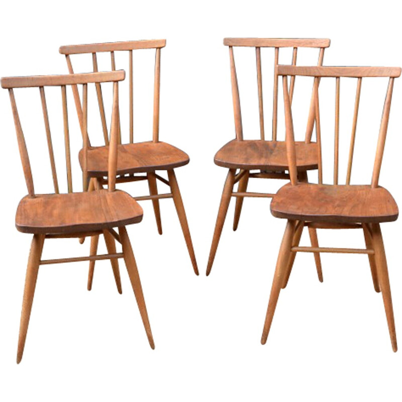 Set of 4 chairs in beech by Lucian Ercolani for Ercol - 1960s