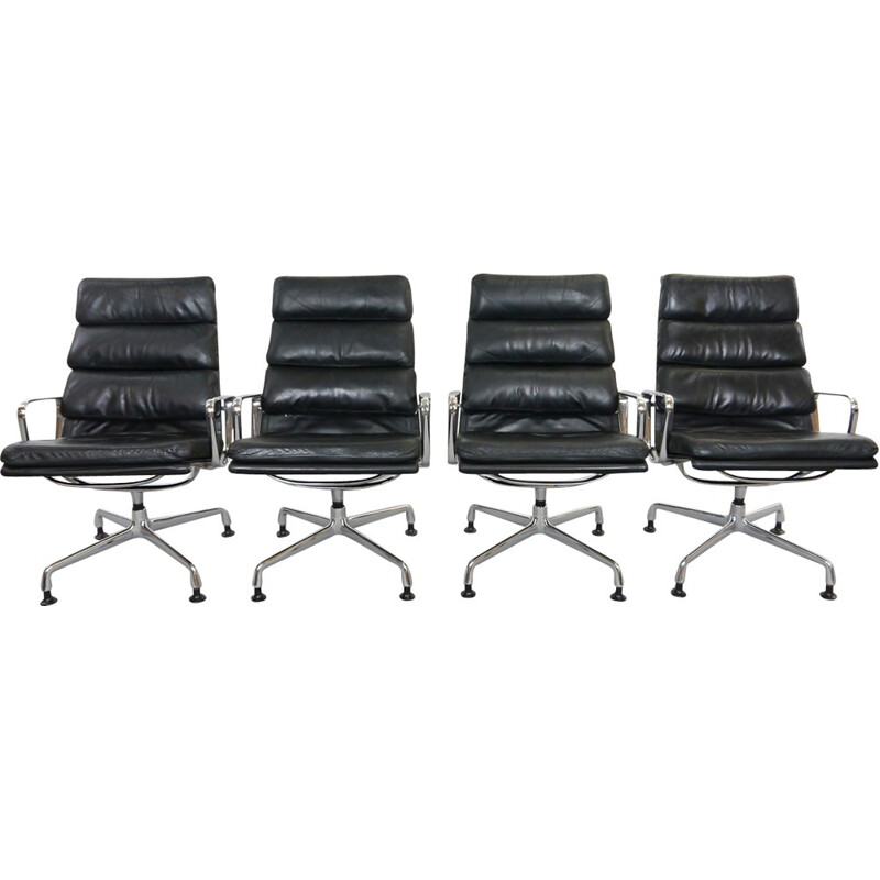 4 softpad armchairs EA 216 in black leather by Charles Eames for Herman Miller - 1950s