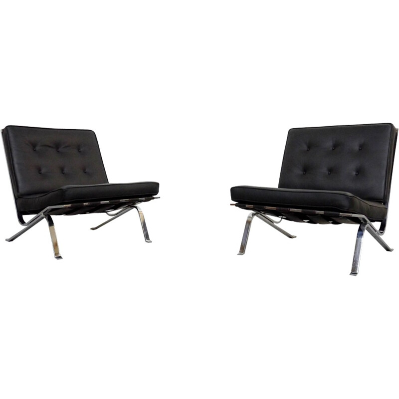 Pair of RH-301 Flat Bar Lounge Chairs in black leather by Robert Haussmann for De Sede - 1950s