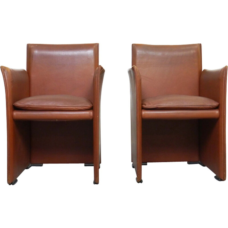 Pair of Armchairs in Brown Leather by Mario Bellini for Cassina - 1970s