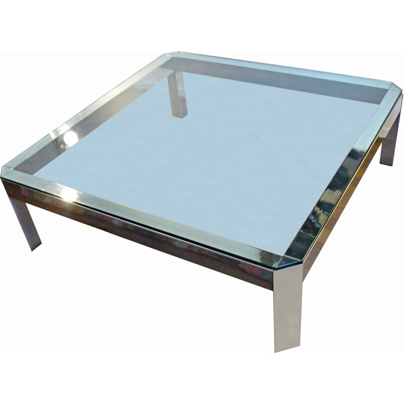 Large coffee table made of chromed metal - 1960