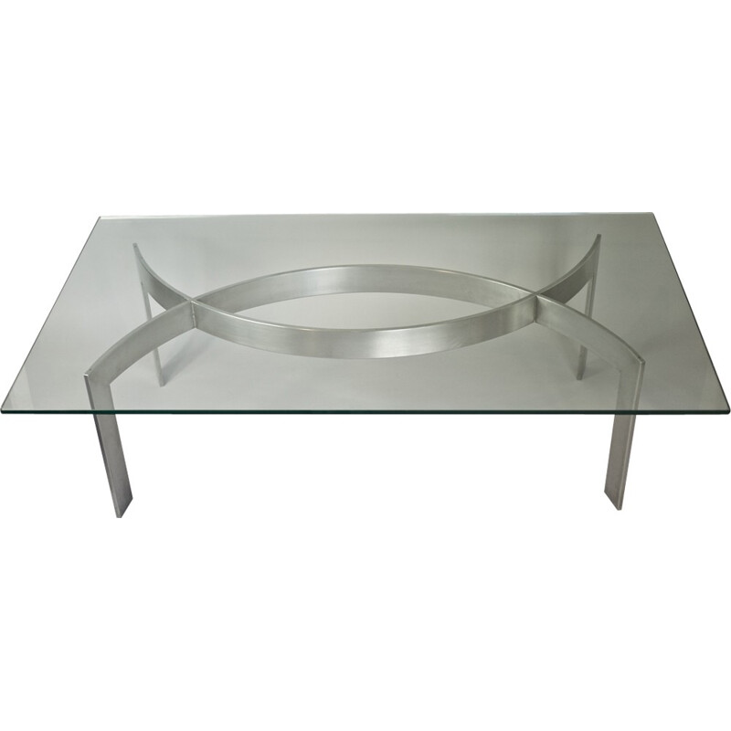 Vintage brushed metal and glass tile coffee table by Paul Legeard - 1970s