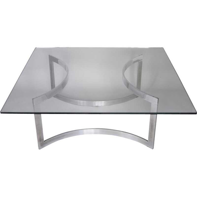 Coffee table in steel and glass for Dassas - 1960s