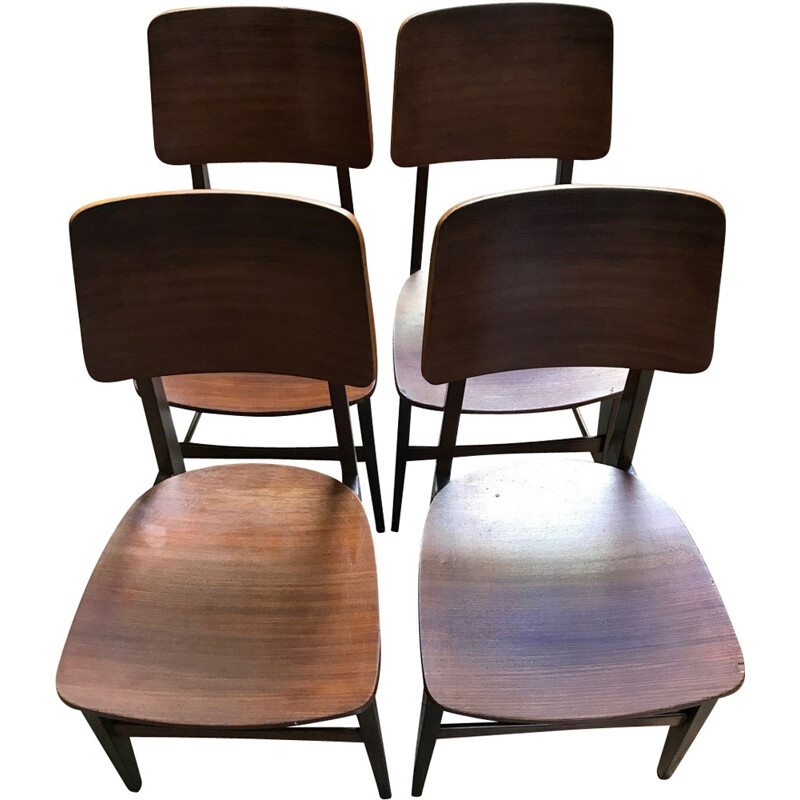Set of 4 Soborg chairs by Borge Mogensen - 1950s