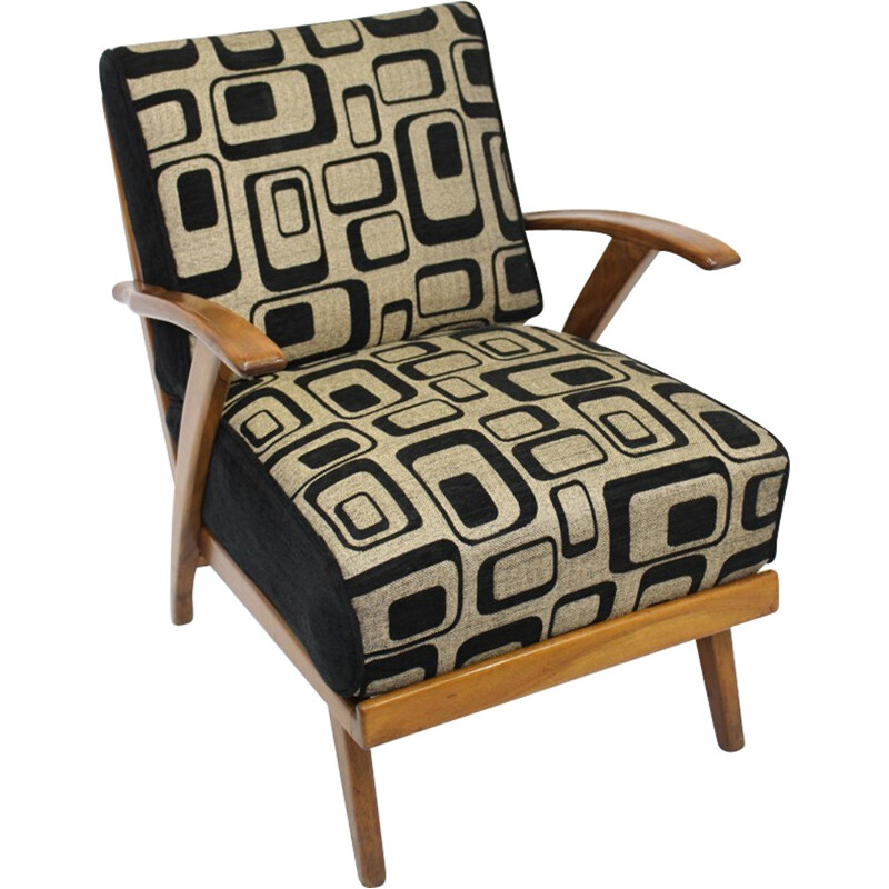 Vintage armchair in wood and geometric fabric - 1950s