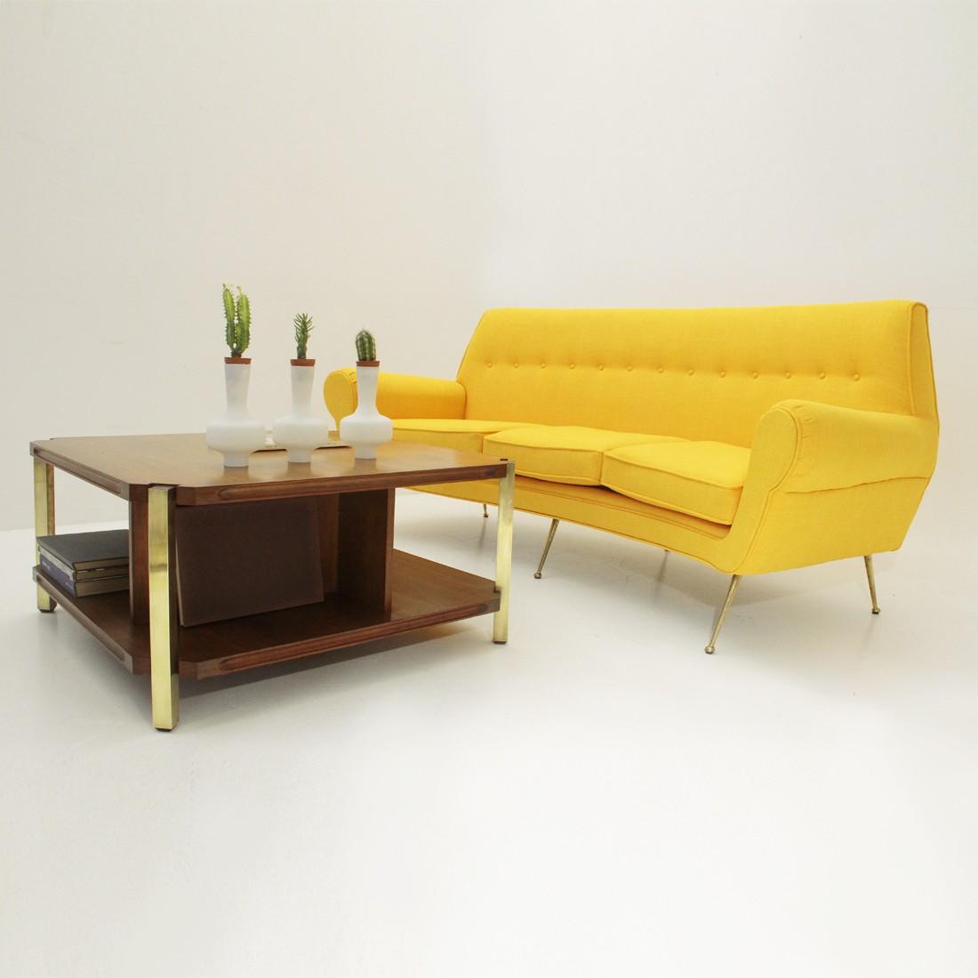 Italian Teak Coffee Table With Brass Legs