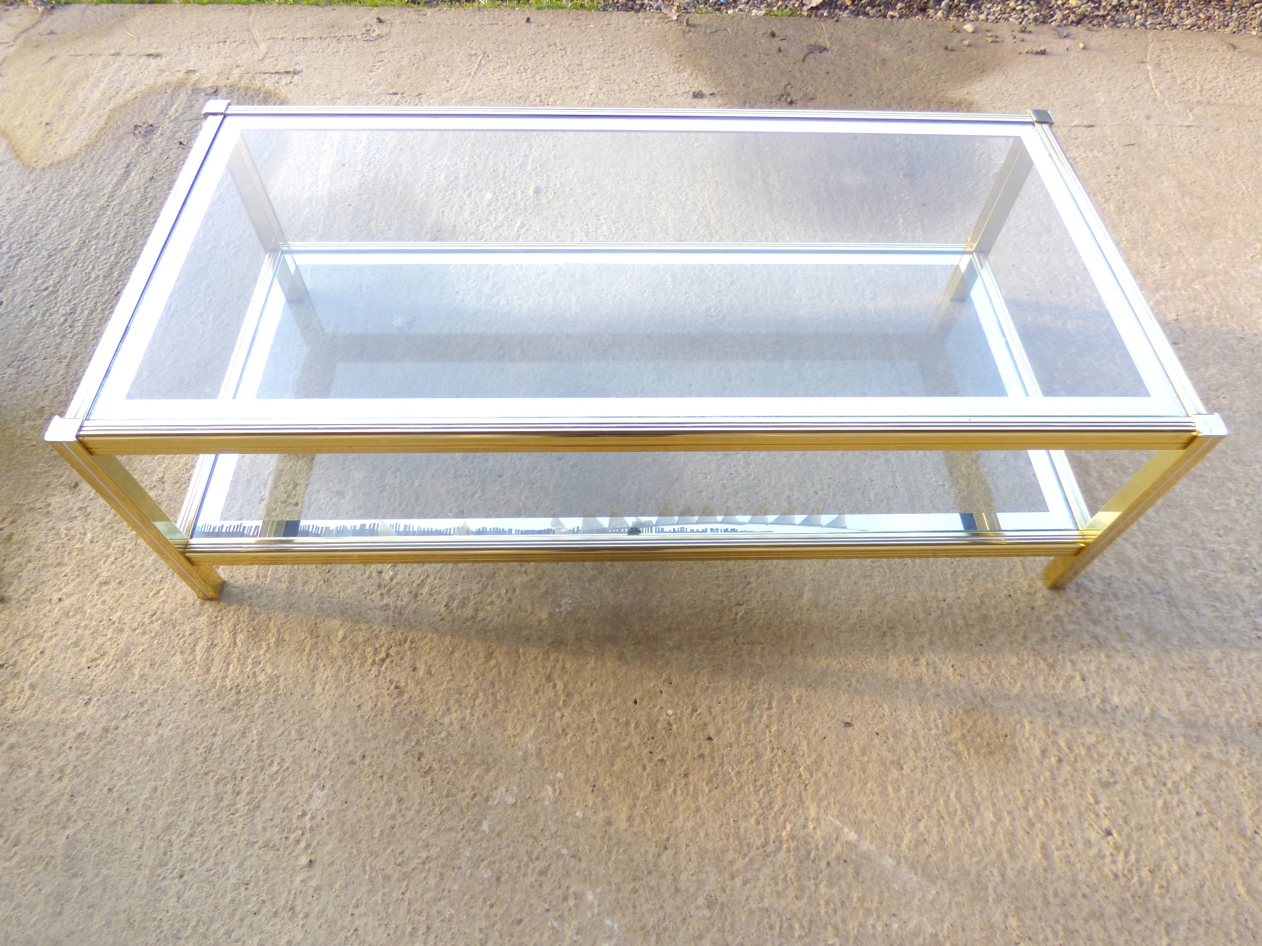 Vintage gold metal and glass coffee table 1970s Design Market