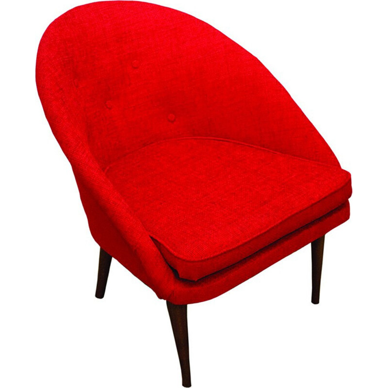 Vintage armchair in red fabric - 1960s
