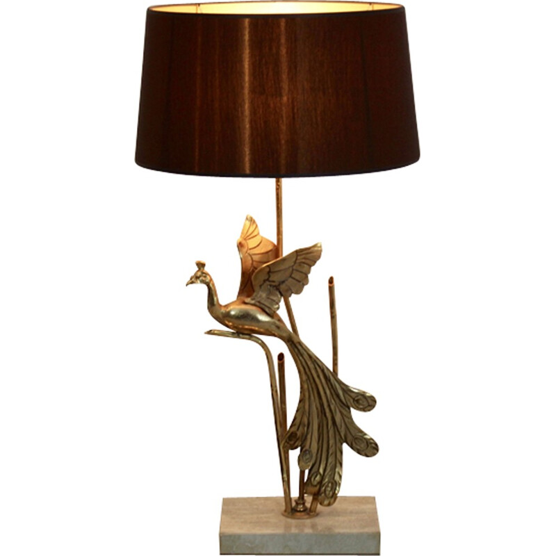 Table lamp with gold metal sculpture - 1970s