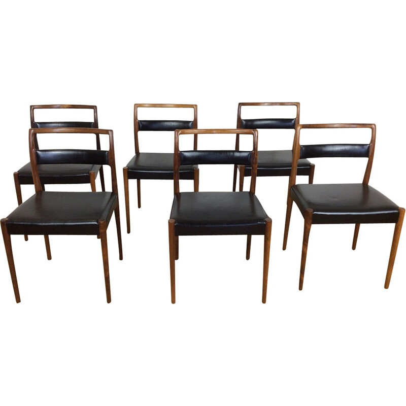 Set of 6 vintage rosewood dining chairs - 1960s