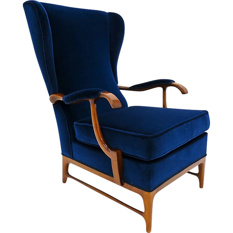 Vintage armchair in walnut and velvet by Paolo Buffa - 1950s