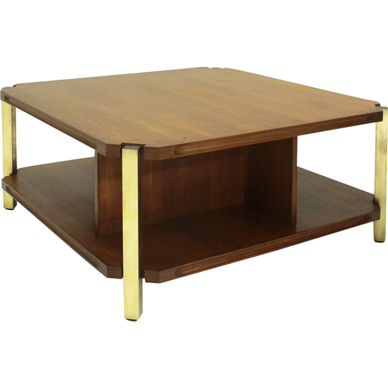Italian teak coffee table with brass legs - 1960s