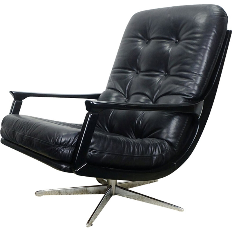 Lounge Armchair Leather Swivel - 1960s