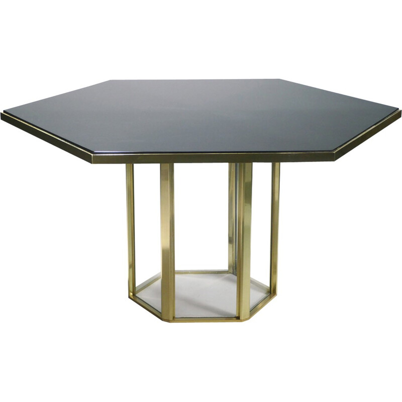 Italian lacquer and brass table by Romeo Rega - 1970s