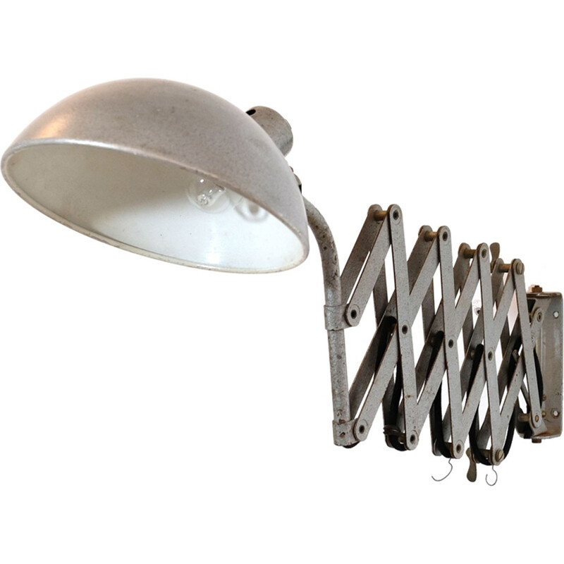 Accordion french vintage grey wall lamp - 1960s