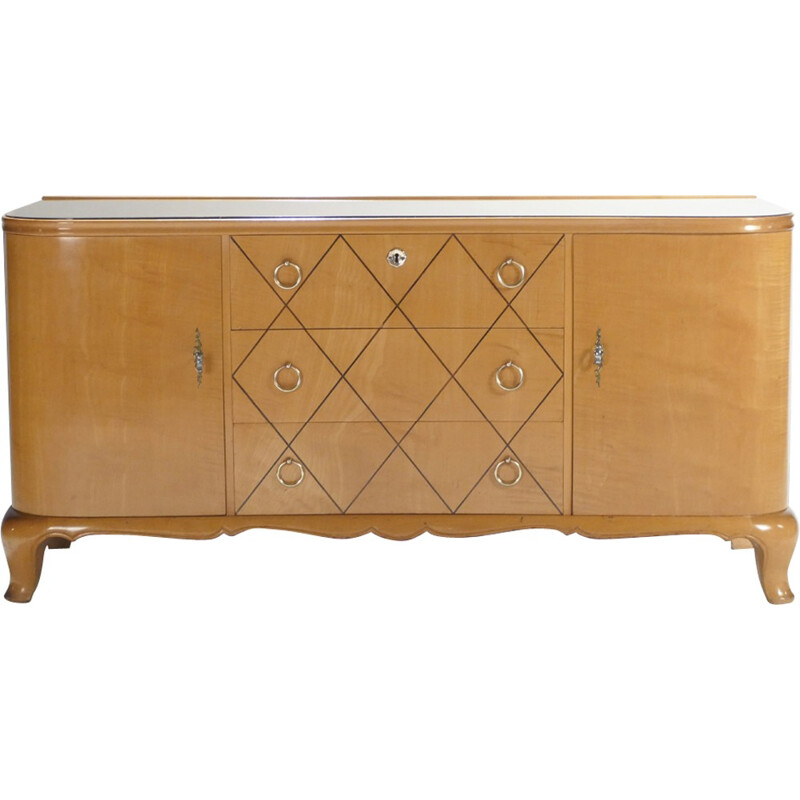 Vintage chest of drawers in sycamore of René Prou - 1940s