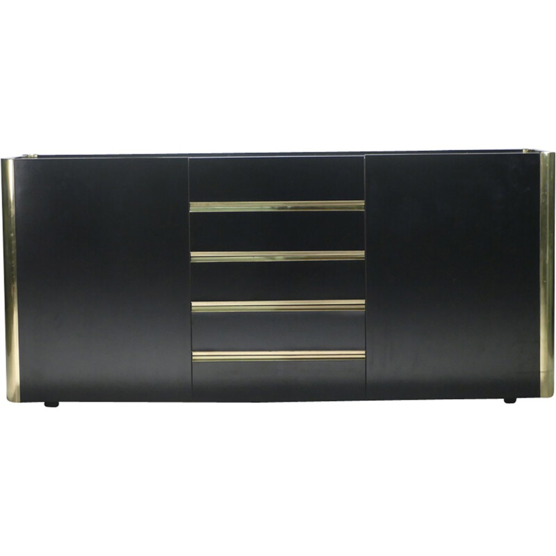 Lacquered vintage sideboard and brass by Willy Rizzo - 1970s